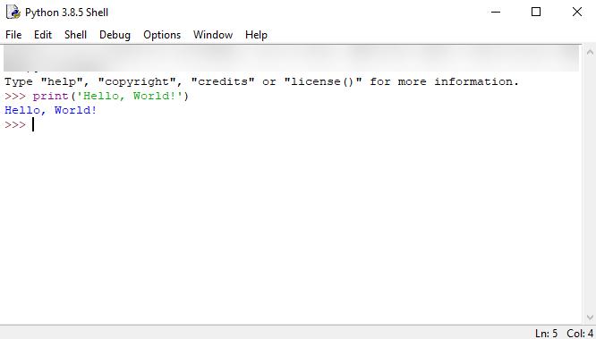 Python Hello World - Executing code